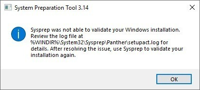 การแก้ปัญหา Sysprep was not able to validate your Windows installation