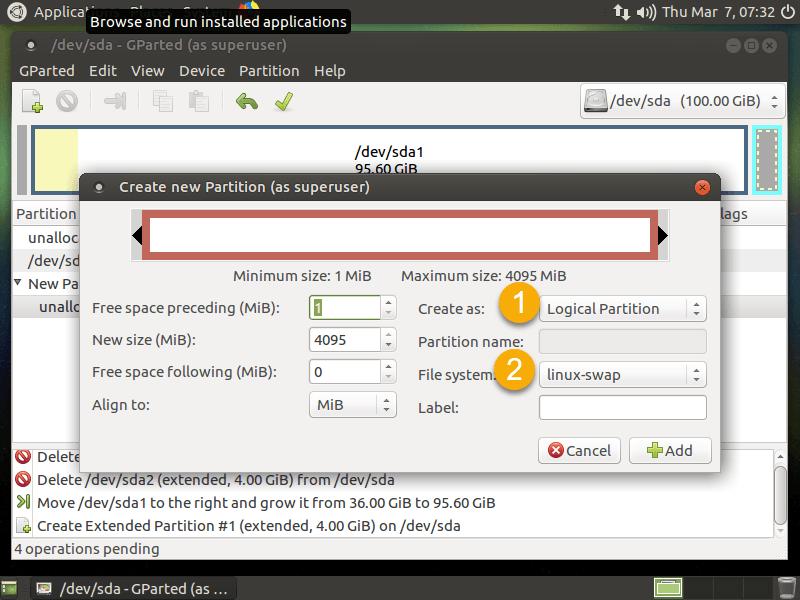 ขั้นตอนการขาย Harddisk ใน Ubuntu ด้วย Gparted