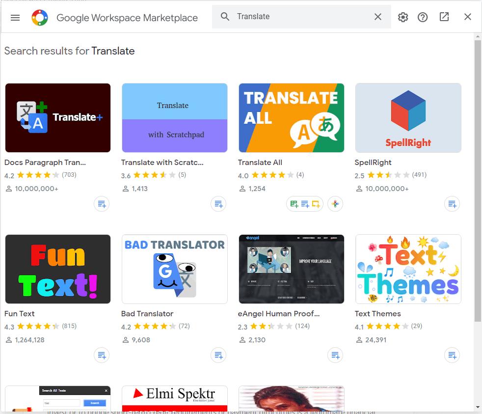 การแปลภาษาใน Google Docs