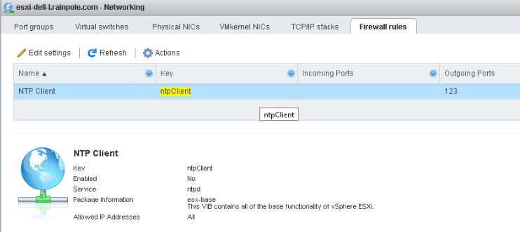 การแก้ไข NTP Action บน vSphere 7.x ไม่ทำงาน